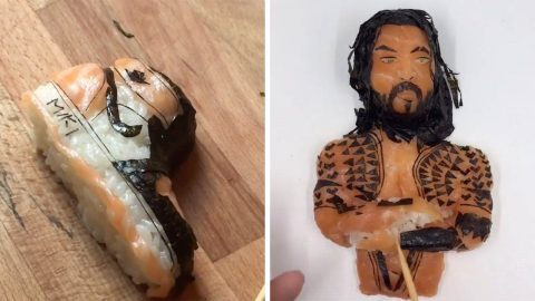 SHRIMPLY THE BEST: TALENTED CHEF CREATES WORKS OF ART FROM HIS SUSHI DISHES Image