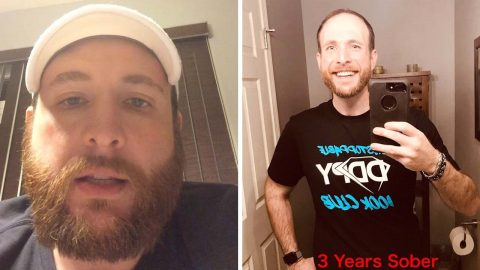 ADDICT REVEALS INCREDIBLE TRANSFORMATION PICTURES AFTER MARKING THREE YEARS SOBER, AND RELEASES VIDEO HE TOOK ON LAST EVER NIGHT DRUNK Image