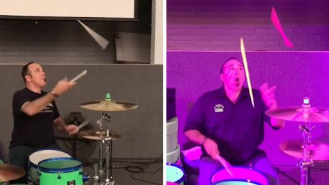 JAW-DROPPING JUGGLING SKILLS ON DISPLAY AS DRUMMER SHOWCASES HIS SKILLS WHILE PLAYING THE BEATS Image