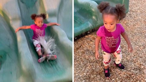NOT THE IDEAL WATER SLIDE: LITTLE GIRL SLIDES STRAIGHT INTO A PUDDLE OF WATER Image