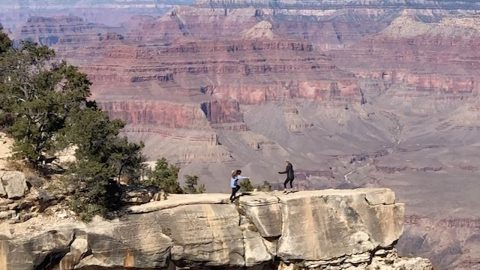 HEART-STOPPING MOMENT WOMAN ALMOST FALLS DOWN GRAND CANYON WHILE TAKING PHOTO OF HER MUM Image