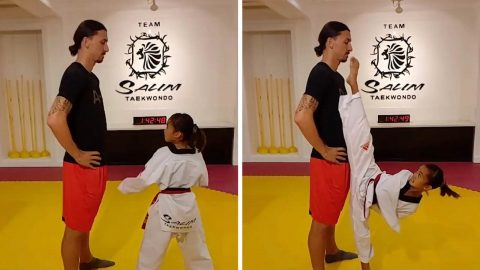 AMAZING MOMENT LITTLE GIRL BRUSHES ZLATAN IBRAHIMOVIC'S NOSE WITH TAEKWONDO KICK Image