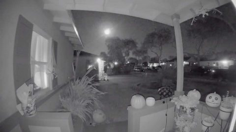 DOORBELL CAMERA CAPTURES HUGE METEOR ILLUMINATING NIGHT SKY Image
