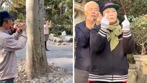 BIZARRE MEDITATION MAKES IT LOOK LIKE GROUP OF ELDERLY PEOPLE ARE GIVING THE MIDDLE FINGER Image
