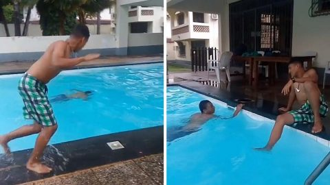 FRIEND BAMBOOZLES RIVAL IN SWIMMING CONTEST BY CHEATING IN HILARIOUS VIRAL VIDEO Image