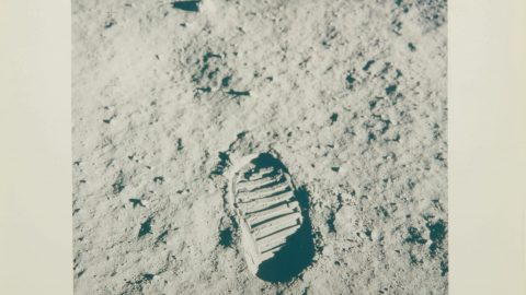AN AUCTION THATS OUT OF THIS WORLD! ORIGINAL PICTURES OF MANS FOOTPRINT ON THE MOON UP FOR SALE Image