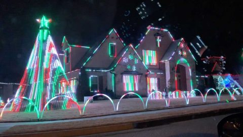 MESMERISING CHRISTMAS LIGHTS ON DISPLAY IN SUBURBAN NEIGHBOURHOOD Image