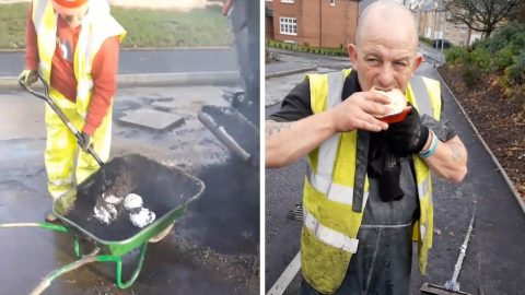TAKING DRIVE THRU TO ANOTHER LEVEL: ROAD WORKERS COOK LUNCH INCLUDING WHOLE CHICKEN BY BURYING IT IN BOILING TAR Image