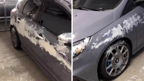 THIS DAD WOKE UP TO HIS PRIZED CAR COVERED IN PAINT COURTESY OF HIS TODDLER SON Image