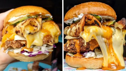 AUSSIE CAFÉ CREATES 'WORLD'S FIRST' DEEP FRIED INDIAN BUTTER CHICKEN BURGER WITH CHEESY GARLIC NAAN AND PAPPADUMS BETWEEN THE BUNS Image