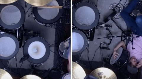 CLUMSY DRUMMER DROPS THE BEAT BY TOPPLING ONTO HIS DRUM KIT IN PAINFUL VIDEO Image