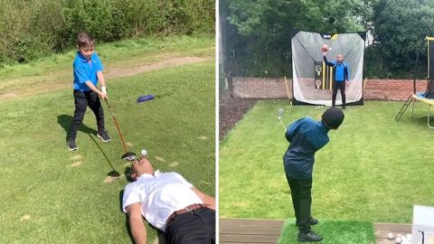 SIX-YEAR-OLD GOLFING WHIZZ-KID SHOWS OFF AMAZING TRICK SHOTS Image