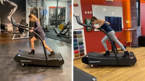 WOMAN PERFORMS INTENSE WORKOUT OUT BY RUNNING AT TOP SPEED ON TREADMILL IN HIGH HEELS Image