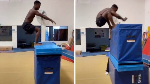 GYMNAST TEENAGER IS HEAD AND SHOULDERS ABOVE THE COMPETITION AFTER JUMPING HIS OWN HEIGHT IN VIRAL VIDEO Image
