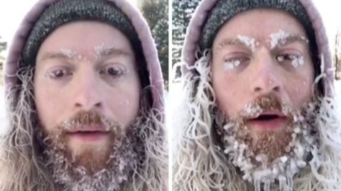 GRIN AND BEARD IT: HAIRY MAN'S BEARD FREEZES ON HIS FACE IN SUB-ZERO TEMPERATURES Image