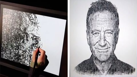 INVENTIVE ARTIST TURNS DOODLES INTO INCREDIBLE PORTRAIT OF ICONIC ROBIN WILLIAMS Image