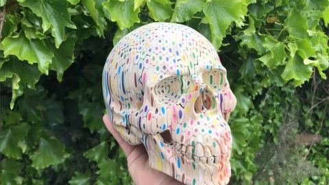 SKULLFUL ARTIST COMBINES 600 COLOURFUL PENCILS TO CREATE GIANT SKELETON HEAD Image