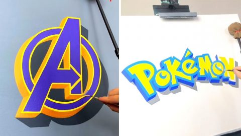 AMAZING HAND LETTERING ARTIST RECREATES 3D LOGOS OF FAMOUS BRANDS Image
