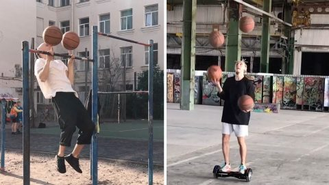 SETTING THE BAR HIGH! CIRCUS PERFORMER COMBINES GYMNASTICS WITH BASKETBALL TRICKS TO CREATE IMPRESSIVE VIRAL VIDEOS Image