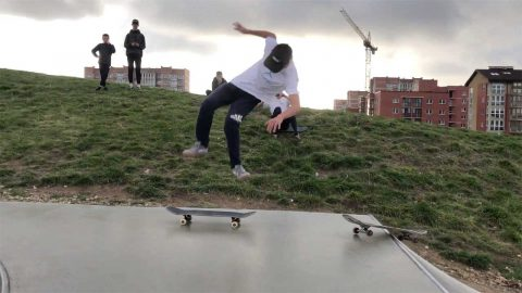 SKATEBOARDER, 14, FLIPS FROM ONE BOARD TO ANOTHER IN ONE-IN-A-MILLION TRICK CAUGHT ON CAMERA Image