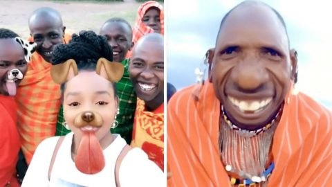 HEARTWARMING MOMENT MAASAI MEN IN HYSTERICS AFTER TRYING SNAPCHAT FILTERS FOR THE FIRST Image