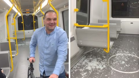 WHAT A SMASHING METRO RIDE: MAN RIDES BIKE ON METRO CARRIAGE AND BREAKS WINDOW Image