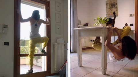CLIMBER TRIES TO KEEP UP HER HOBBY IN SELF ISOLATION BY CLIMBING FURNITURE IN HER HOUSE Image