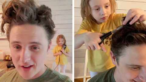 AMIDST THE PERIOD OF SOCIAL DISTANCING, THIS MAN ENLISTS HIS DAUGHTER TO CUT HIS HAIR WITH VARYING SUCCESS Image