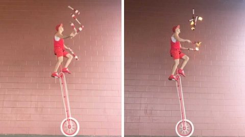 EXTREME JUGGLER PUTS LIFE IN HIS HANDS BY JUGGLING FIRE TORCHES AND KNIVES WHILE PRECARIOUSLY BALANCING ON 10FT UNICYCLE Image