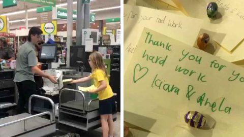 THOUGHTFUL PAIR OF SISTERS HAND OUT 'THANK YOU' CARDS TO HARD-WORKING SUPERMARKET WORKERS DURING CORONAVIRUS PANDEMIC Image