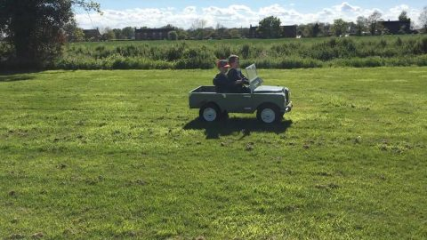 LUCKY TWINS GET TO SPEND ISOLATION IN A GREAT PLAYHOUSE, WITH THEIR OWN MINI LAND ROVER Image
