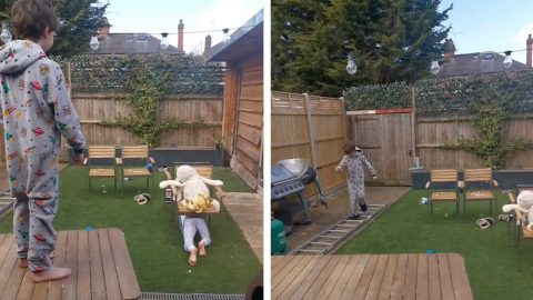 BROTHERS OVERCOME LOCKDOWN BOREDOM AS THEY BUILD THEIR OWN ASSAULT COURSE Image