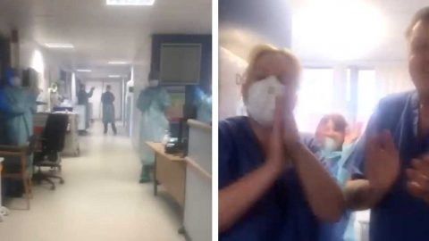 EMOTIONAL MOMENT A CORONAVIRUS SURVIVOR IS MOVED OUT OF A HIGH DEPENDENCY WARD Image