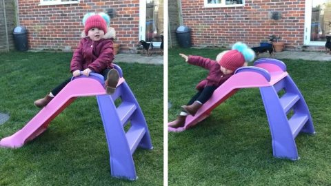 THIS TODDLER HASN'T QUITE MASTERED GOING DOWN THE SLIDE AND EVEN HER DAD CAN'T HELP BUT LAUGH AS SHE FALLS Image