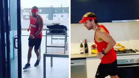 ISOLATED LONG-DISTANCE RUNNER COMPLETES MARATHON IN APARTMENT DURING QUARANTINE Image