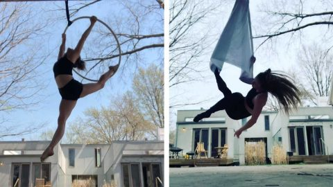 PROFESSIONAL AERIALIST SHOWS OFF SOME NEW WORK WHILE TRAINING AT HOME Image