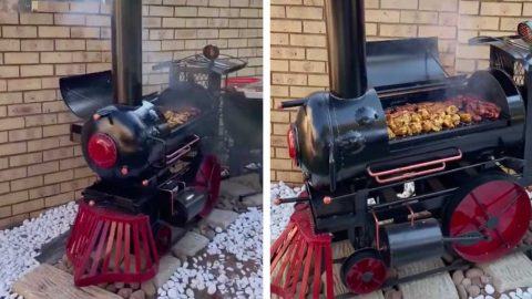 CHEW CHEW: MAN TRANSFORMS OLD STEAM TRAIN HE FOUND AT HIS LOCAL SCRAP YARD INTO A BBQ IN THIS EPIC DIY TRANSFORMATION Image
