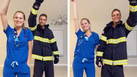 NURSE AND FIREFIGHTER DO TIKTOK DANCE IN FULL UNIFORM Image