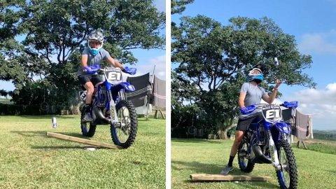WHAT A FLIPPING GOOD TRICK! THIS MOTORCYCLIST FLIPS A RED BULL CAN WITH HIS BIKE Image