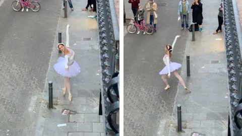 STUNNING MOMENT BALLET DANCER PERFORMS 'SWAN LAKE' IN STREET AMID LOCKDOWN Image