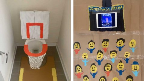 BASKETBALL SUPERFAN MISSED THE SEASON SO MUCH HE TURNED HIS TOILET INTO A BASKETBALL THRONE Image