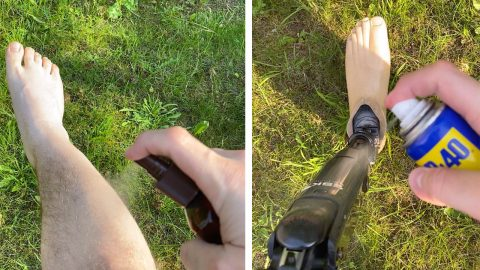 SUNBATHING AMPUTEE HILARIOUSLY APPLIES WD-40 TO PROSTHETIC LEG Image