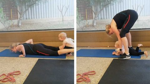 BABY INTERRUPTS MUMS BURPEE WORKOUT Image
