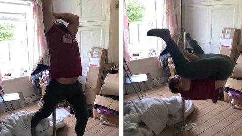 BOYFRIEND TRIES TO PULL OFF DANCE MOVES ON A POLE BUT FAILS EPICLY Image