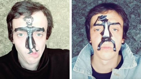 MAN MAKES DANCING CHARACTERS COME TO LIFE ON HIS HIS FACE USING EXPRESSIONS Image