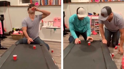 FRIENDS DRINK FAST-MOVING SHOTS FROM TREADMILL IN VIRAL DRINKING-GAME Image