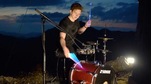 INCREDIBLE MOMENT DRUMMER PLAYS ON TOP OF AUSTRIAN MOUNTAIN Image