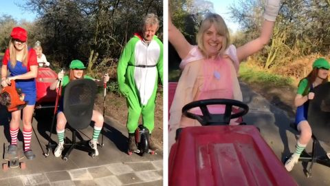 NEXT UP, PEACH BEACH! FAMILY GO ALL OUT TO CREATE A REAL-LIFE MARIO KART RACE Image