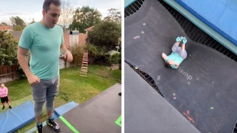 THIS ACROBAT INSTALLED A FLOOR OF TRAMPOLINES AND A TRAMPOLINE WALL TO BOUNCE HIGHER THAN HIS HOUSE Image