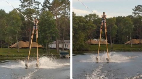 MAN BREAKS WORLD RECORD BY WATER-SKIING ON STILTS Image